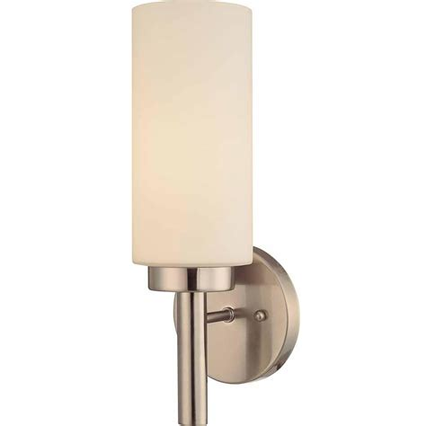 polished nickel bathroom sconces shop voyles 5 in w 1 light brushed nickel directional wall