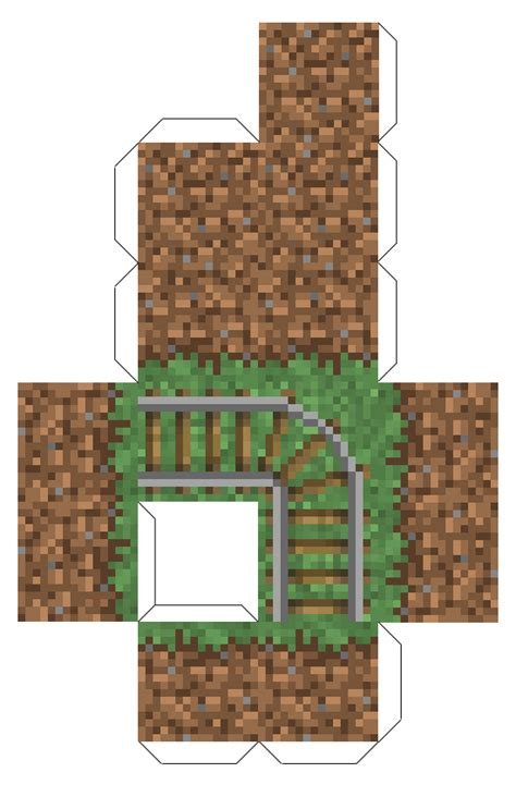 Minecraft Grass Block Papercraft - papercraft grass block with rails minecraft