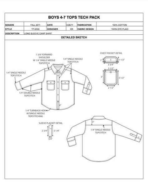 Childrens Design Detail Sheet Sle Womens Mens Kids Plus Size Apparel Tech Pack Tech Pack Template