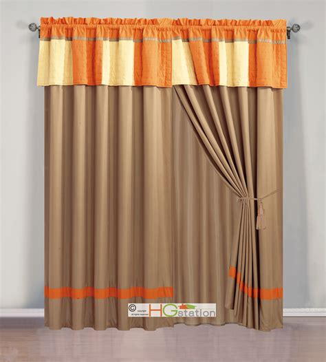quilted curtains 4pc cozy patchwork striped quilted curtain set orange