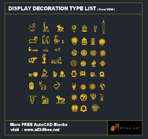 Kitchen Accessories Autocad Block Autocad Block Display Decoration Collection 001