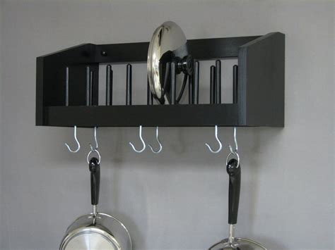 Wall Mounted Pot Racks For Kitchen Wall Mounted Rack Wood Pot Pan Utensil Racks Lid Plate