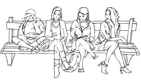 how to draw people sitting on a bench vector illustration of women sitting and waiting on a