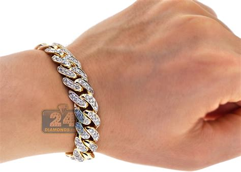 Mens Diamond Miami Cuban Bracelet 10K Yellow Gold 7.55 ct 13 mm