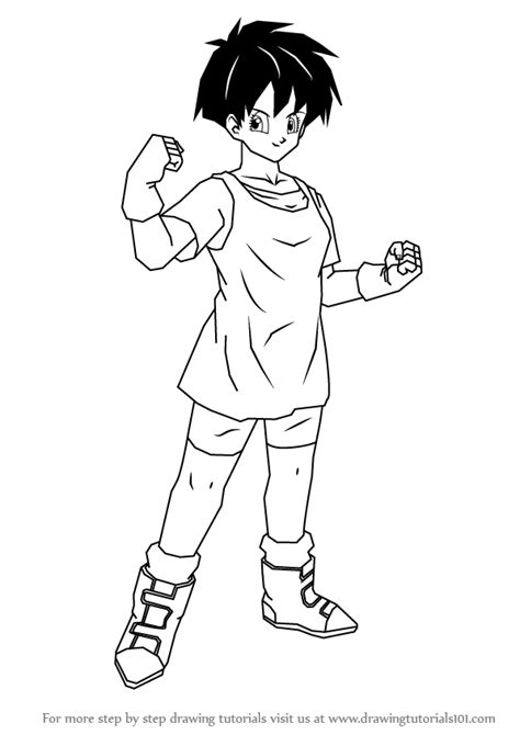 step step draw videl dragon ball drawingtutorials101