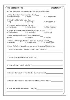 """""""Harry Potter and the Goblet of Fire"""" worksheets by Peter"""