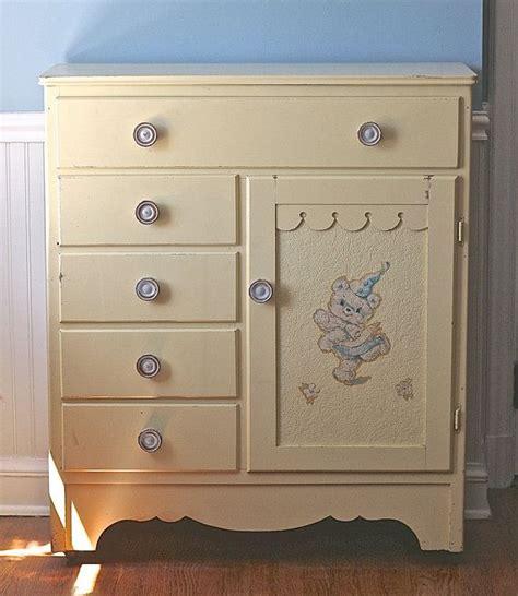 vintage nursery childs armoire wardrobe pale yellow