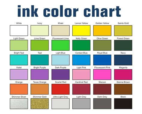 color chart screen printing ink color chart