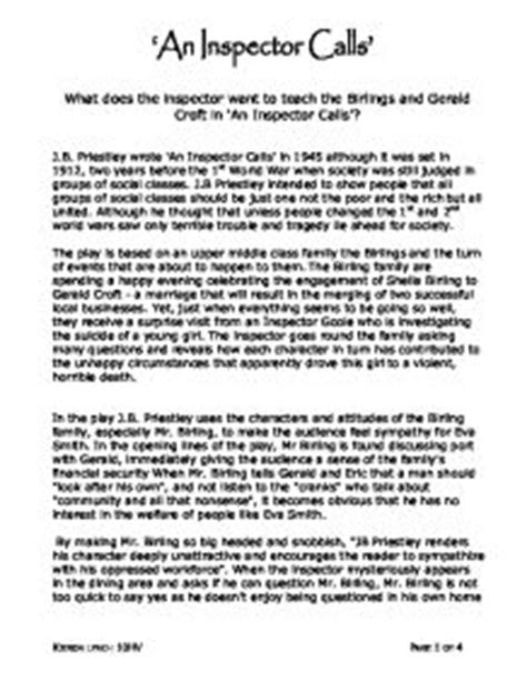 The Inspector Calls Essay by An Inspector Calls What Does The Inspector Want To Teach The Birlings And Gerald In An