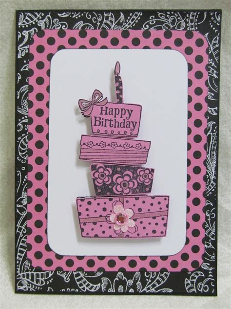 Handmade Cards For Birthday - savvy handmade cards happy birthday pink cake card
