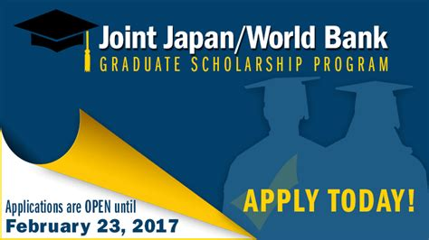 Jp Launching Leaders Mba Scholarship by Joint Japan World Bank Graduate Scholarship Program 2017