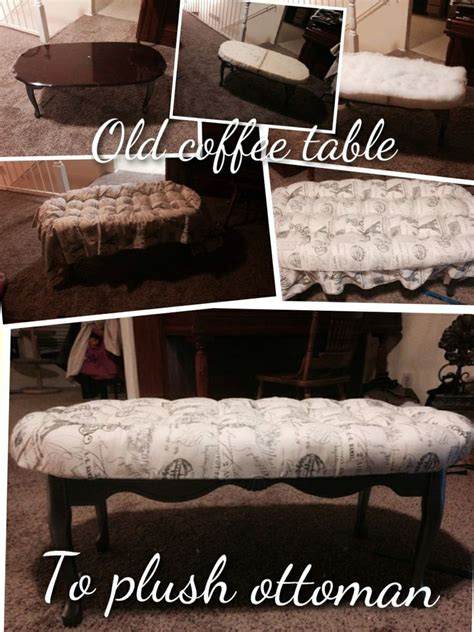 Ottoman That Turns Into A Chair Scratched And Dented Coffee Table Turned Into A Plush Tufted Ottoman Re Purposed