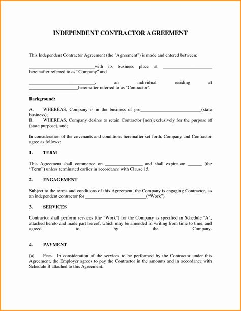 1099 agreement template 1099 contract agreement beautiful independent contractor