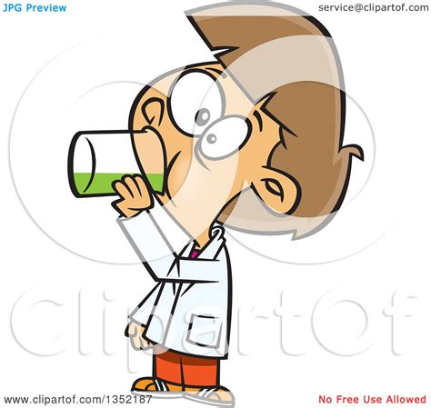 clipart of a cartoon brunette white drinking a liquid
