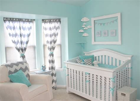 Chevron Nursery Curtains Aqua And Gray Chevron Nursery Project Nursery