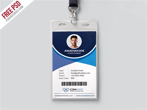 id card photoshop template free corporate office identity card template psd psdfreebies