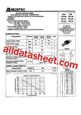 data sheet transistor mje340 tip102 datasheet pdf mospec semiconductor