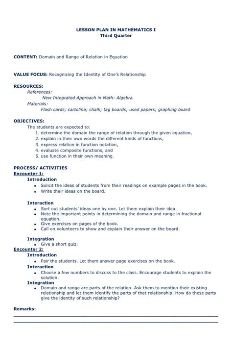 algebra lesson plan template lesson plan in math