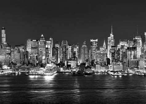 new york city nyc skyline midtown manhattan at black