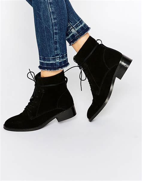 asos aliza suede lace up ankle boots in black lyst