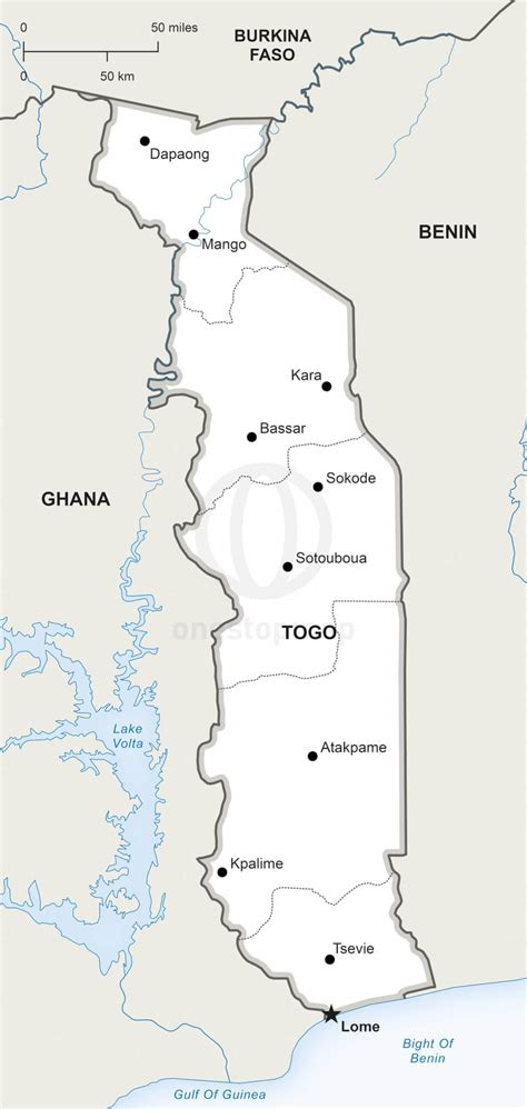 political map of togo vector map of togo political one stop map