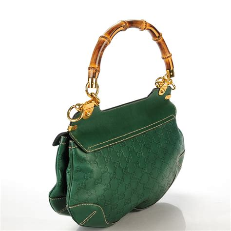 Gucci Peggy Large Top Handle Bag by Gucci Guccissima Peggy Bamboo Top Handle Bag Green 140260