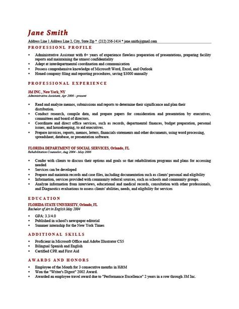 career profile exles resume 28 images 5 profile exles
