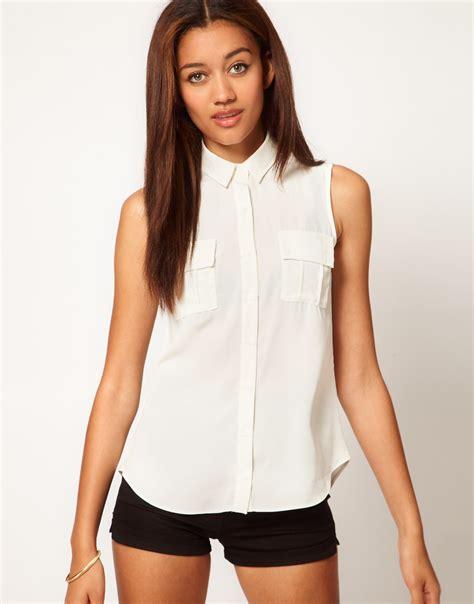 Sleeveless Shirt river island sleeveless shirt in white lyst
