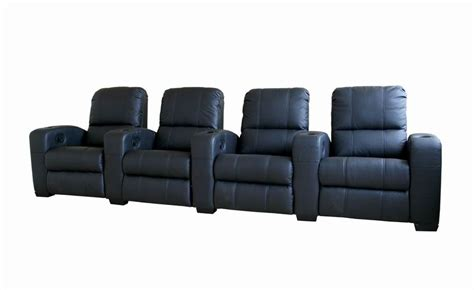 broadway home theater chairs in black row of 4