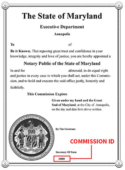 Maryland Certificate Letter Maryland Office Of The Of State Notary Division