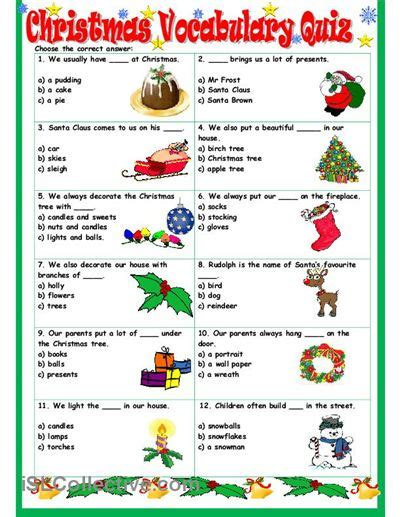 printable vocabulary games christmas vocabulary quiz worksheet free esl printable