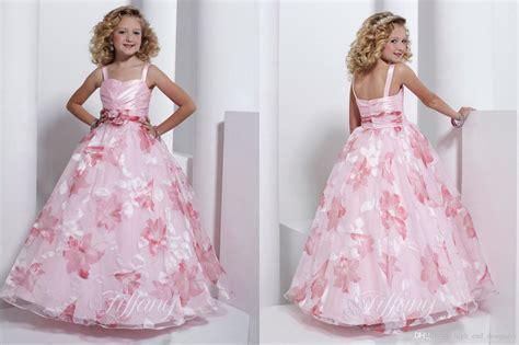 light pink pattern dress flower girls dresses spaghetti strap ball gown flower