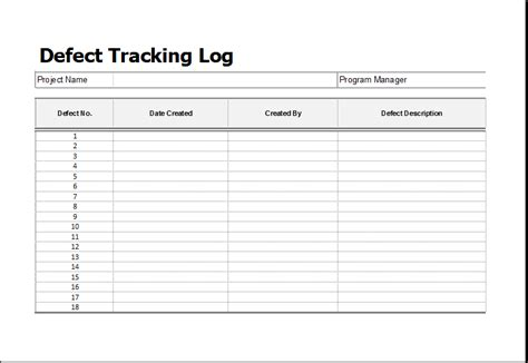 building defect report template defect tracking log template for ms excel excel templates