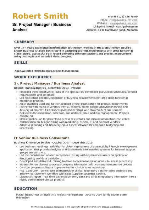 Resume Business Analyst Project Management business analyst project manager resume sles qwikresume