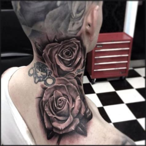 neck tattoo realistic shoulder realistic flower neck tattoo by pete the thief