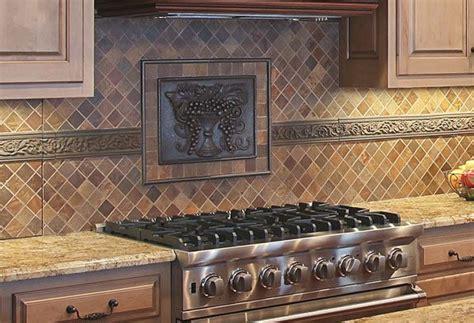 Decorative Tiles For Kitchen Backsplash This Backsplash Features An Elon Metal Decorative Tile And Travertine Tile Laid On The Diagonal