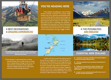 brochure templates nz trifold travel brochure new zealand on behance