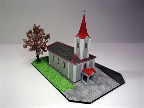 paper craft buildings church in chromeč free building paper model