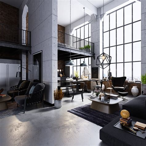High Efficiency Windows Decor Industrial Style Living Room Home Design