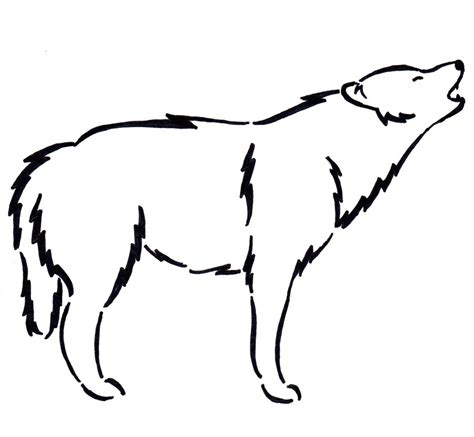 Simple Wolf Outline by Simple Wolf Drawings Cliparts Co