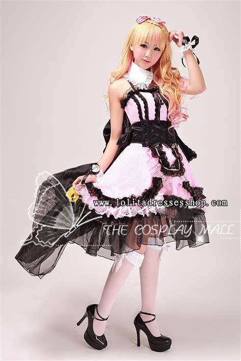 anime 47 high and low cheap black and pink turndown collar sleeveless high low