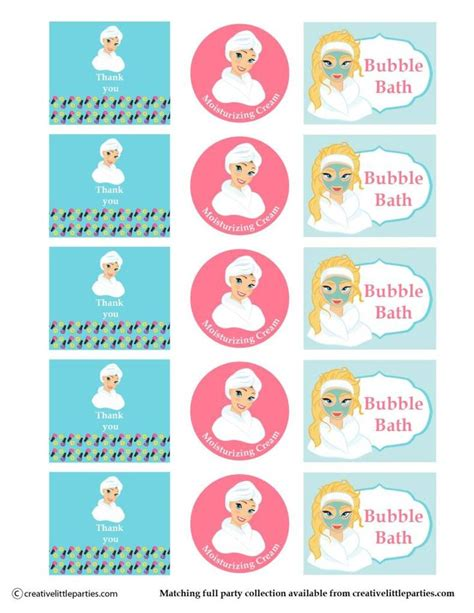 printable name tags for party bags spa party gift bag free printable bottle labels spaparty
