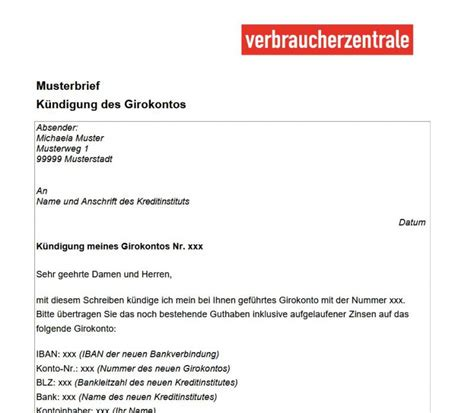 Musterbriefe Zur Bewerbung Pdf Verbraucherzentrale Musterbriefe Girokonto Freeware De