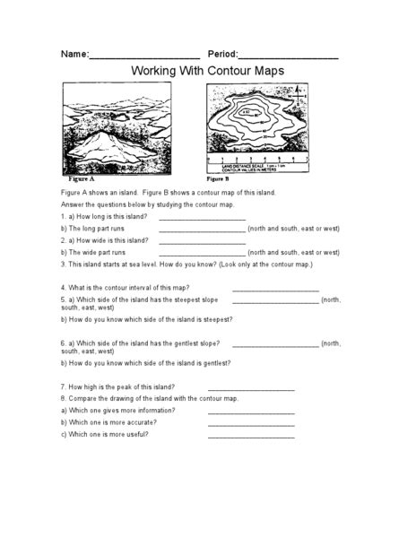 Earth Science Topographic Map Worksheet by Topographic Map Worksheet Answers Lesupercoin Printables