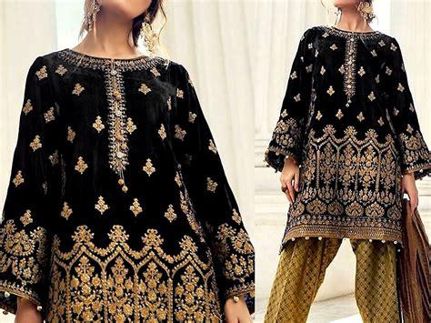 embroidered black velvet dress  jamawar trouser price