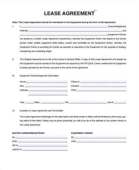 commercial truck lease agreement sle truck lease agreements 9 free documents in word pdf