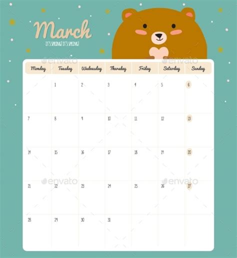 cute calendar template 13 download free documents in