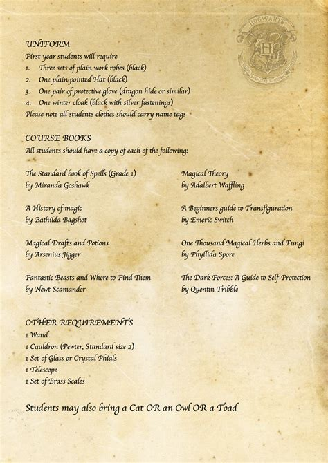 Harry Potter Acceptance Letter Card Harry Potter Diy Hogwarts Acceptance Letter Requirement List Https Www V