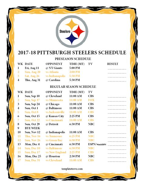 Pittsburgh Steelers Schedule 2018 Printable printable 2017 2018 pittsburgh steelers schedule