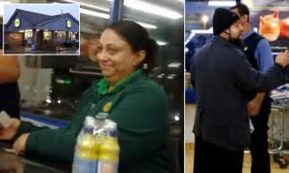 shocking moment smirking shop assistant in lidl